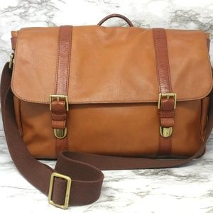 FOSSIL-Brown Leather Briefcase